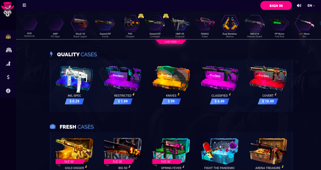 Daddy skins main page