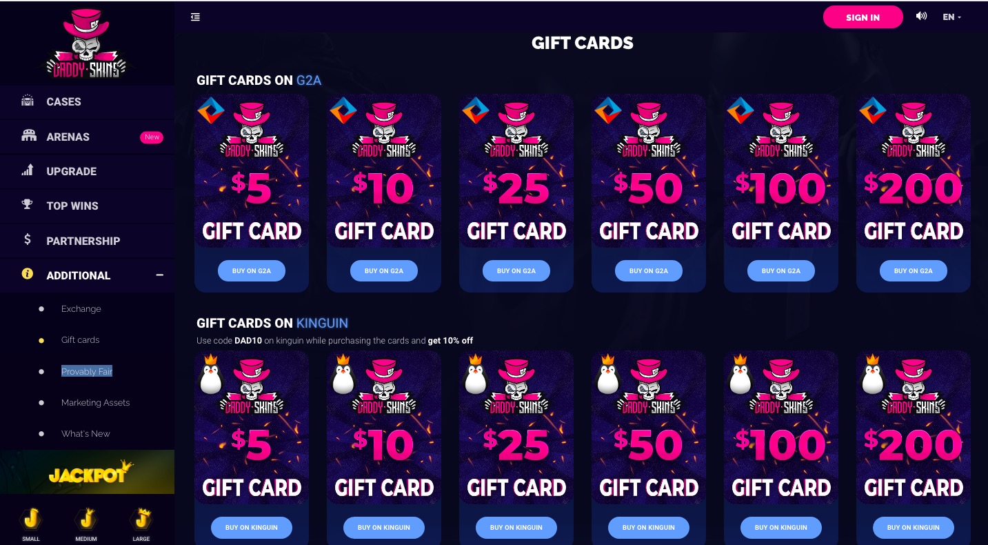 DaddySkins gift cards