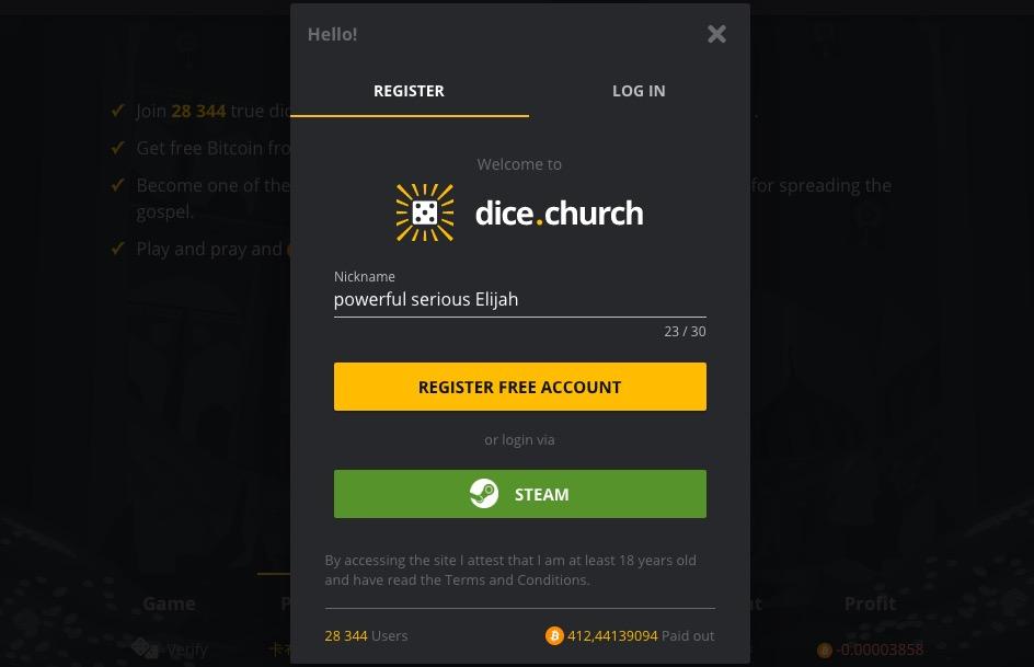 Dice Church register form