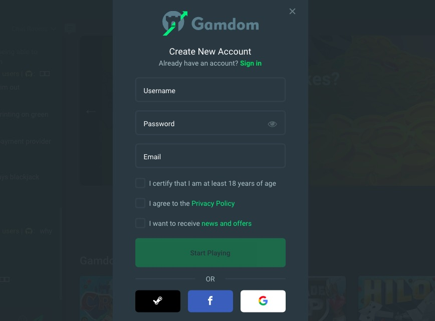Gamdom registration