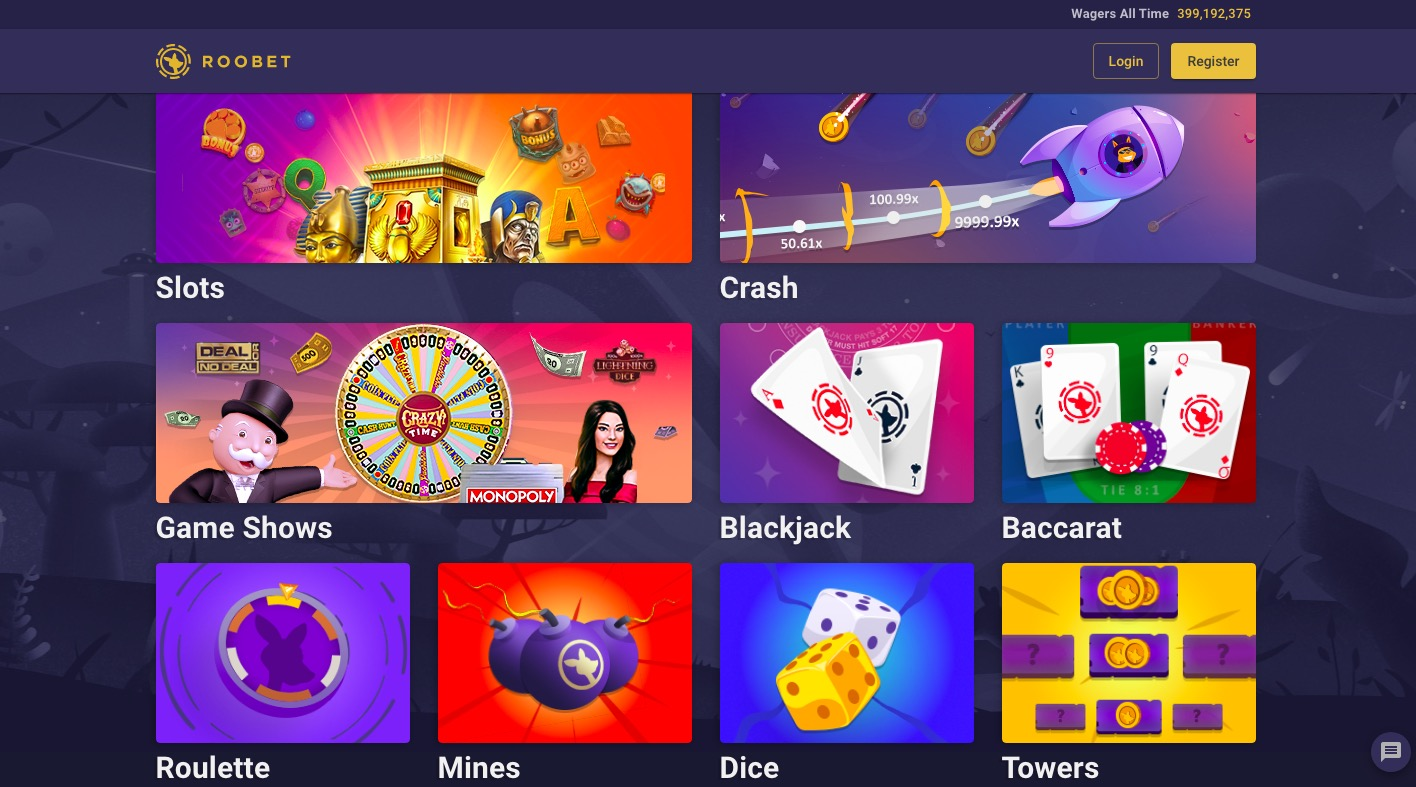 Roobet main page