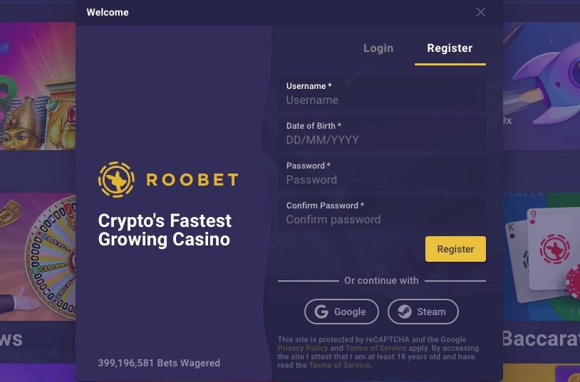 Roobet registration